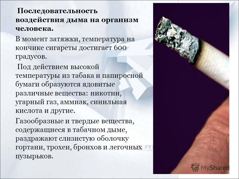 Последовательность воздействия дыма на организм человека. В момент затяжки, температура на кончике сигареты достигает 600 градусов. Под действием высокой температуры из табака и папиросной бумаги образуются ядовитые различные вещества: никотин, угарн