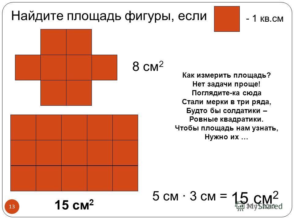 8 см 2 15 см 2 5 см · 3 см = 15 см 2 - 1 кв.см Найдите площадь фигуры, если 30.11.2013 13 Как измерить площадь? Нет задачи проще! Поглядите-ка сюда Стали мерки в три ряда, Будто бы солдатики – Ровные квадратики. Чтобы площадь нам узнать, Нужно их …