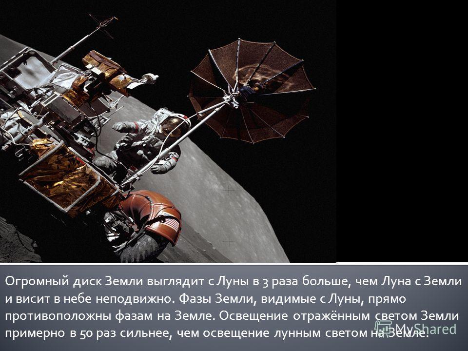 Огромный диск Земли выглядит с Луны в 3 раза больше, чем Луна с Земли и висит в небе неподвижно. Фазы Земли, видимые с Луны, прямо противоположны фазам на Земле. Освещение отражённым светом Земли примерно в 50 раз сильнее, чем освещение лунным светом