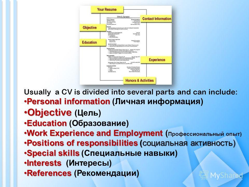 Usually a CV is divided into several parts and can include: Personal informationPersonal information (Личная информация) Objective Objective (Цель) EducationEducation (Образование) Work Experience and EmploymentWork Experience and Employment ( Профес