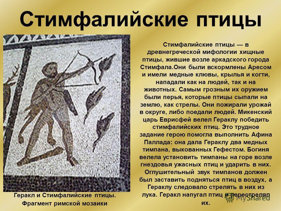 Стимфалийские птицы Стимфалийские птицы в древнегреческой мифологии хищные птицы, жившие возле аркадского города Стимфала.Они были вскормлены Аресом и имели медные клювы, крылья и когти, нападали как на людей, так и на животных. Самым грозным их оруж