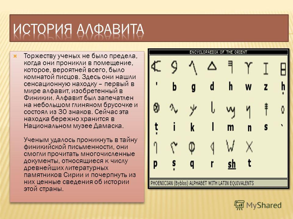 Торжеству ученых не было предела, когда они проникли в помещение, которое, вероятней всего, было комнатой писцов. Здесь они нашли сенсационную находку – первый в мире алфавит, изобретенный в Финикии. Алфавит был запечатлен на небольшом глиняном брусо