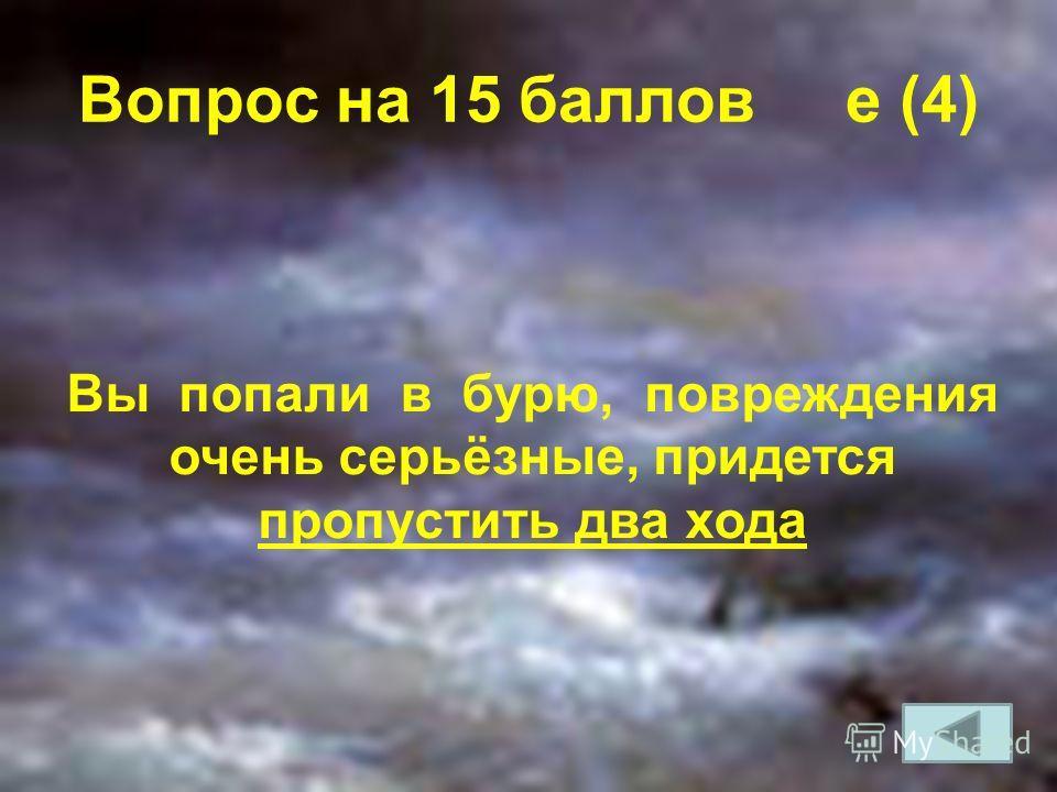Вопрос на 15 баллов e (4) Вы попали в бурю, повреждения очень серьёзные, придется пропустить два хода