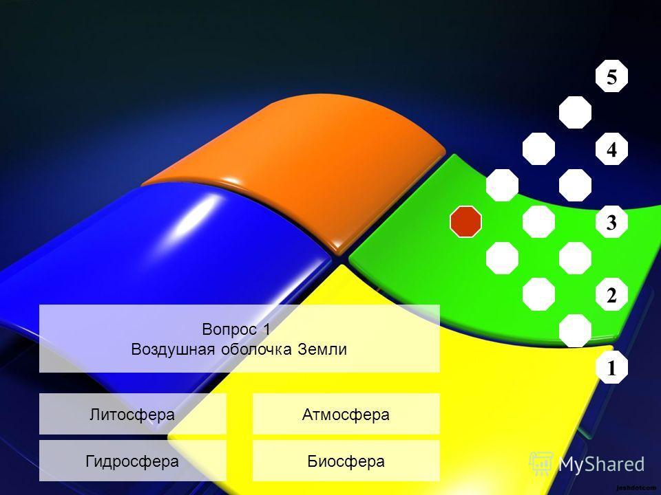 Литосфера Гидросфера Атмосфера Биосфера Вопрос 1 Воздушная оболочка Земли 5 4 3 2 1