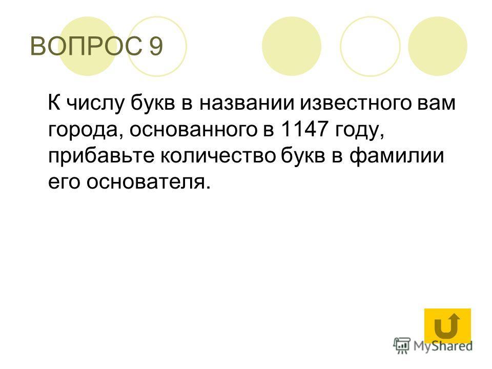 ВОПРОС 9 К числу букв в названии известного вам города, основанного в 1147 году, прибавьте количество букв в фамилии его основателя.