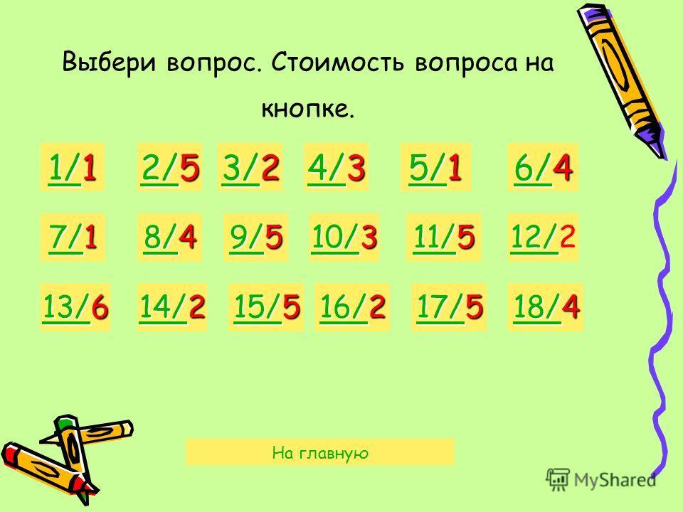 Выбери вопрос. Стоимость вопроса на кнопке. 1/1 1/1 2/5 2/5 3/2 3/2 4/3 4/3 5/1 5/1 6/4 6/4 7/1 7/1 8/4 8/4 9/5 9/5 10/3 10/3 11/5 11/5 12/ 2 13/6 13/6 14/2 14/2 15/5 15/5 16/2 16/2 17/5 17/5 18/4 18/4 На главную