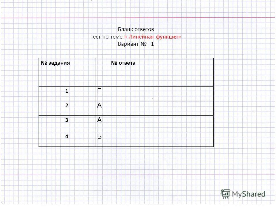 задания ответа 1 Г 2 А 3 А 4 Б Бланк ответов Тест по теме « Линейная функция» Вариант 1