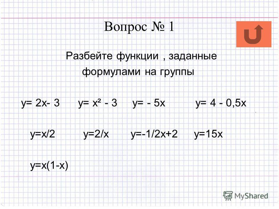 Вопрос 1 Разбейте функции, заданные формулами на группы y= 2x- 3 y= x² - 3 y= - 5x y= 4 - 0,5x y=x/2 y=2/x y=-1/2x+2 y=15x y=x(1-x)