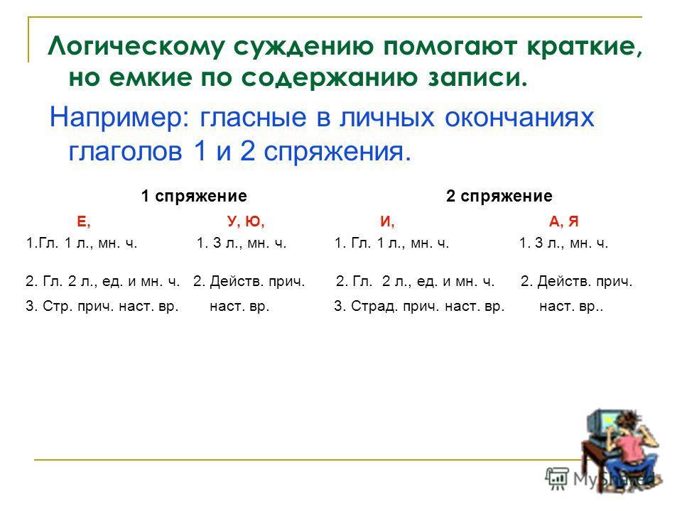 Логическому суждению помогают краткие, но емкие по содержанию записи. Например: гласные в личных окончаниях глаголов 1 и 2 спряжения. 1 спряжение 2 спряжение Е, У, Ю, И, А, Я 1.Гл. 1 л., мн. ч. 1. 3 л., мн. ч. 1. Гл. 1 л., мн. ч. 1. 3 л., мн. ч. 2. Г