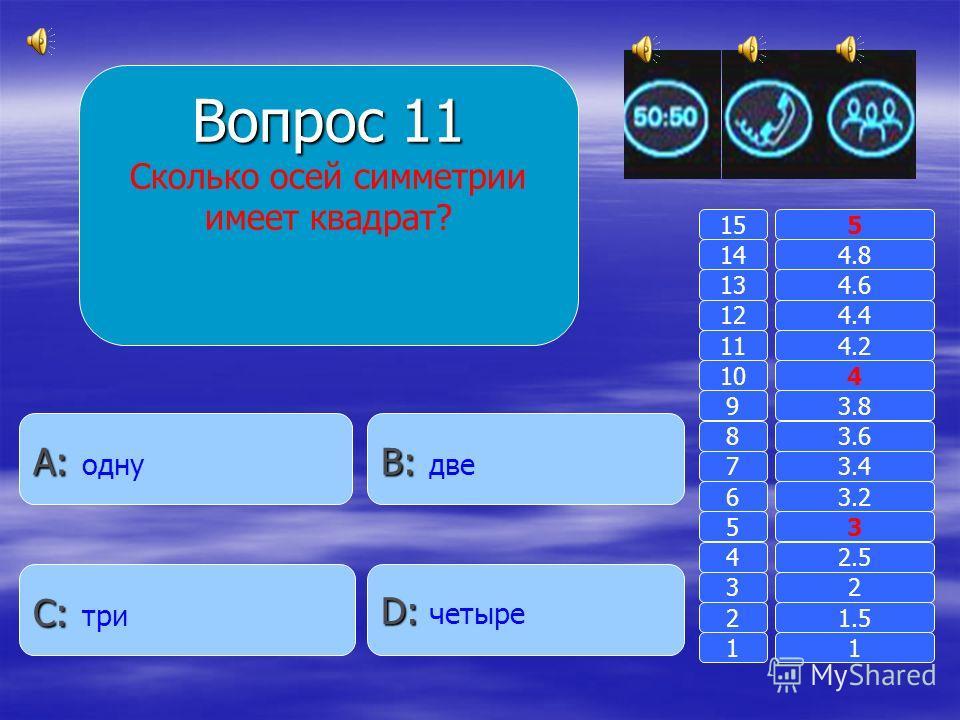 Вопрос 10 Кто такая сколопендра? B: B: обидное прозвище A: A: Насекомое с большим количеством ножек D: D: альпинистка C: C: скорпион в женском роде 11 2 3 4 5 6 7 8 9 10 11 12 13 14 15 1.5 2 2.5 3 3.2 3.4 3.6 3.8 4 4.2 4.4 4.6 4.8 5