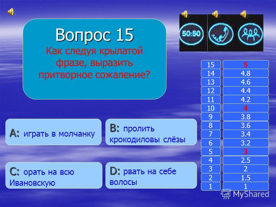 Вопрос 14 Что означает слово « вспылить»? B: B: сдунуть с кого- либо пылинки A: A: поднять пыль D: D: дежурство в кабинете C: C: проявить гнев 11 2 3 4 5 6 7 8 9 10 11 12 13 14 15 1.5 2 2.5 3 3.2 3.4 3.6 3.8 4 4.2 4.4 4.6 4.8 5