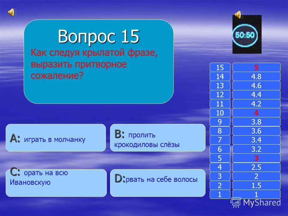 Вопрос 14 Что означает слово « вспылить»? B: B: сдунуть с кого-либо пылинки A: A: поднять пыль D: D: дежурство в кабинете C: C: проявить гнев 11 2 3 4 5 6 7 8 9 10 11 12 13 14 15 1.5 2 2.5 3 3.2 3.4 3.6 3.8 4 4.2 4.4 4.6 4.8 5