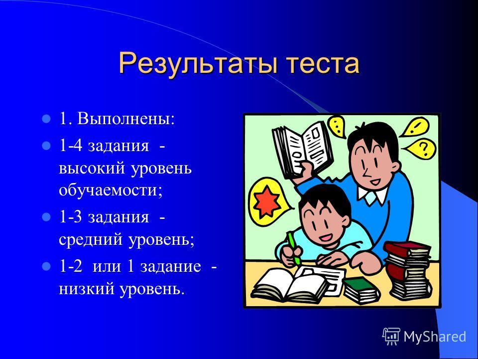 Результаты теста 1. Выполнены: 1-4 задания - высокий уровень обучаемости; 1-3 задания - средний уровень; 1-2 или 1 задание - низкий уровень.