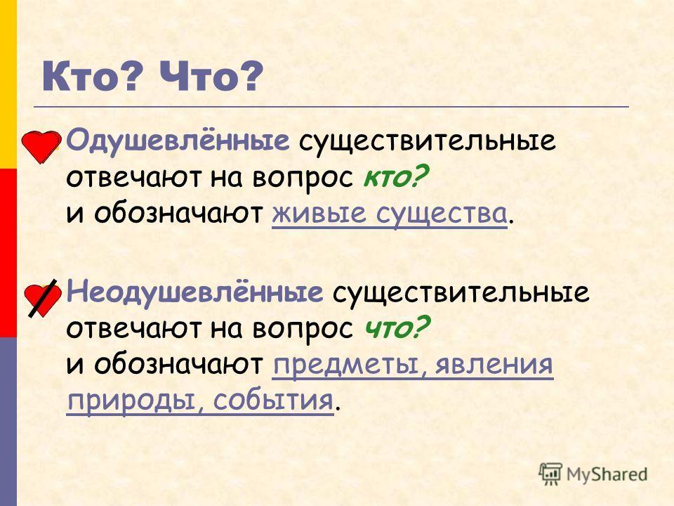 Кто? Что? Одушевлённые существительные отвечают на вопрос кто? и обозначают живые существа.живые существа Неодушевлённые существительные отвечают на в