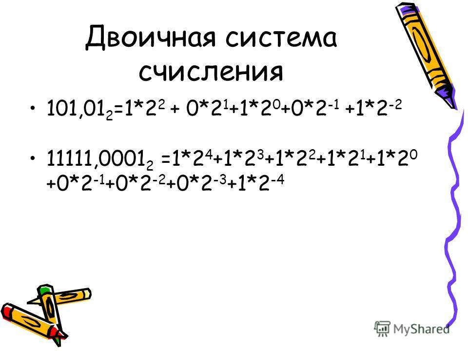 Двоичная система счисления 101,01 2 =1*2 2 + 0*2 1 +1*2 0 +0*2 -1 +1*2 -2 11111,0001 2 =1*2 4 +1*2 3 +1*2 2 +1*2 1 +1*2 0 +0*2 -1 +0*2 -2 +0*2 -3 +1*2 -4