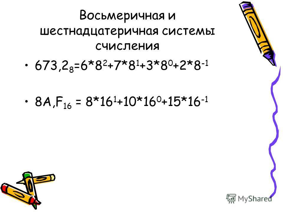 Восьмеричная и шестнадцатеричная системы счисления 673,2 8 =6*8 2 +7*8 1 +3*8 0 +2*8 -1 8А,F 16 = 8*16 1 +10*16 0 +15*16 -1