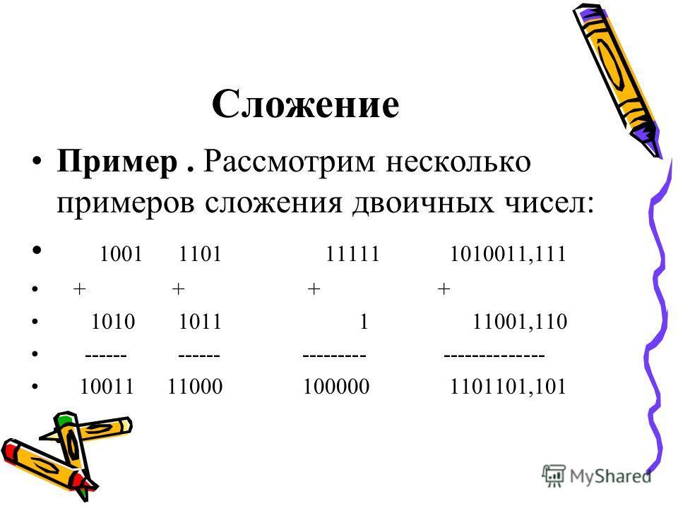 Сложение Пример. Рассмотрим несколько примеров сложения двоичных чисел: 1001 1101 11111 1010011,111 + + + + 1010 1011 1 11001,110 ------ ------ --------- -------------- 10011 11000 100000 1101101,101