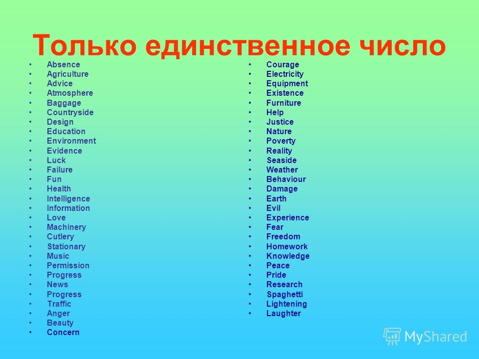 Только единственное число Absence Agriculture Advice Atmosphere Baggage Countryside Design Education Environment Evidence Luck Failure Fun Health Intelligence Information Love Machinery Cutlery Stationary Music Permission Progress News Progress Traff