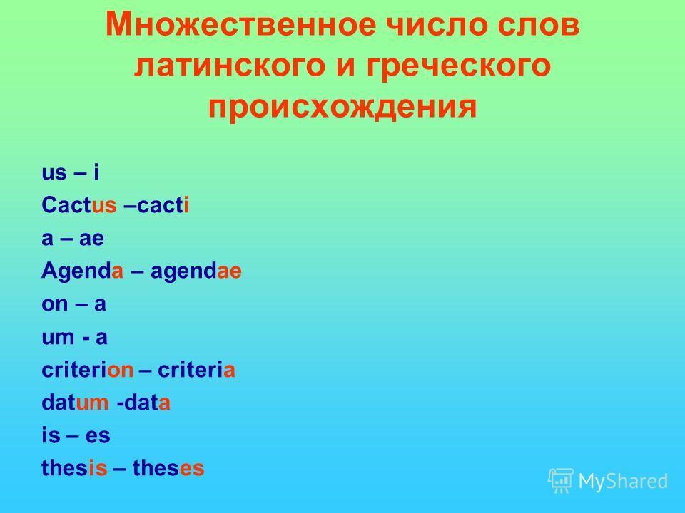 Множественное число слов латинского и греческого происхождения us – i Cactus –cacti a – ae Agenda – agendae on – a um - a criterion – criteria datum -data is – es thesis – theses