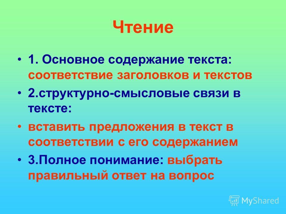 Чтение 1. Основное содержание текста: соответствие заголовков и текстов 2.структурно-смысловые связи в тексте: вставить предложения в текст в соответствии с его содержанием 3.Полное понимание: выбрать правильный ответ на вопрос