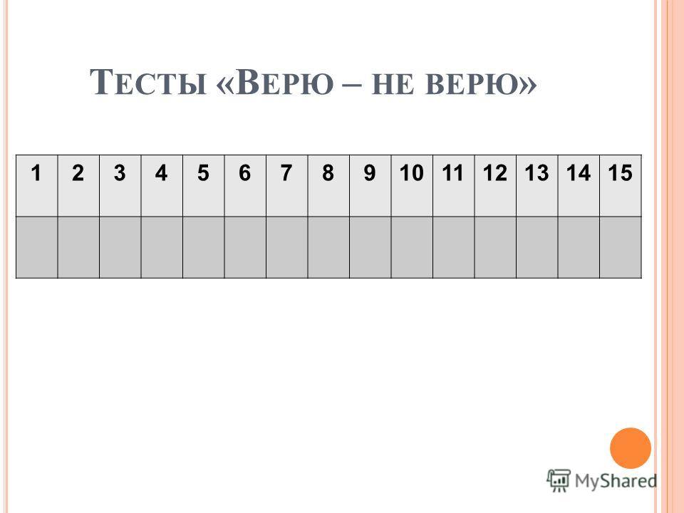 Т ЕСТЫ «В ЕРЮ – НЕ ВЕРЮ » 123456789101112131415