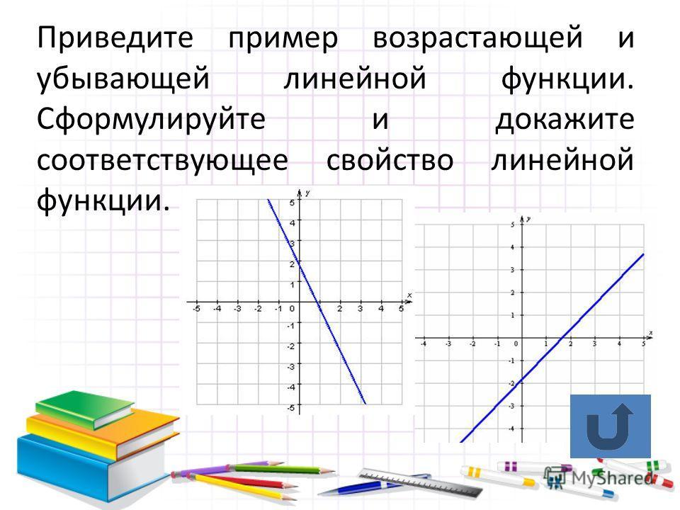 Приведите пример возрастающей и убывающей линейной функции. Сформулируйте и докажите соответствующее свойство линейной функции.