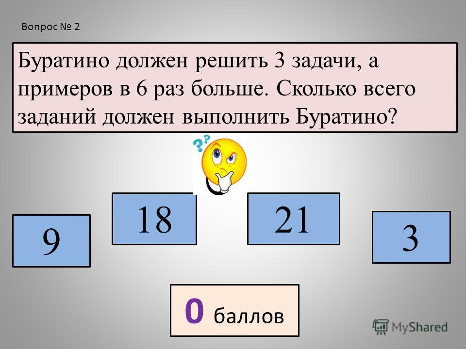 Буратино должен решить 3 задачи, а примеров в 6 раз больше. Сколько всего заданий должен выполнить Буратино? 9 18 3 21 0 баллов Вопрос 2