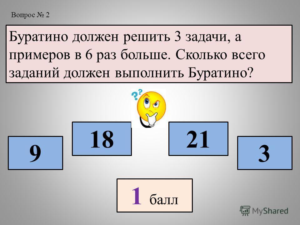 Буратино должен решить 3 задачи, а примеров в 6 раз больше. Сколько всего заданий должен выполнить Буратино? 9 18 3 21 1 балл Вопрос 2