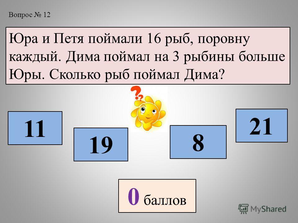 Вопрос 12 Юра и Петя поймали 16 рыб, поровну каждый. Дима поймал на 3 рыбины больше Юры. Сколько рыб поймал Дима? 11 19 8 21 0 баллов