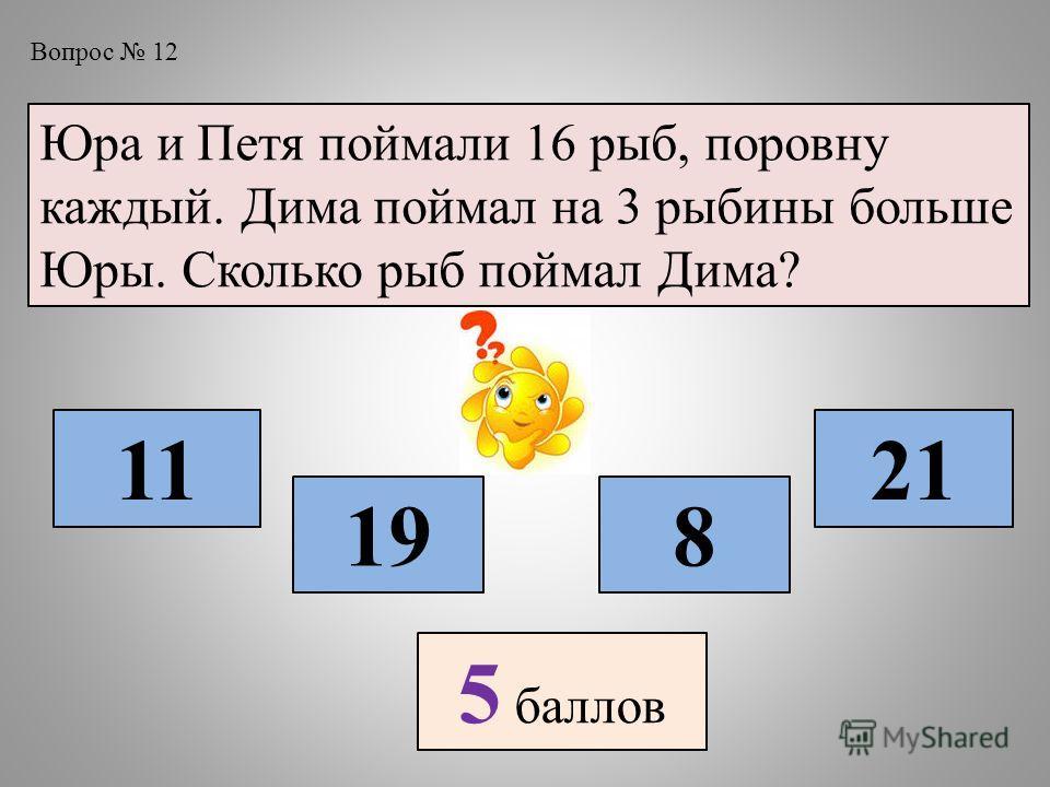 Вопрос 12 Юра и Петя поймали 16 рыб, поровну каждый. Дима поймал на 3 рыбины больше Юры. Сколько рыб поймал Дима? 11 198 21 5 баллов