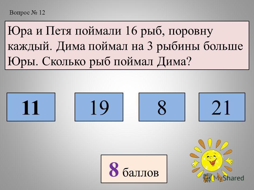Вопрос 12 Юра и Петя поймали 16 рыб, поровну каждый. Дима поймал на 3 рыбины больше Юры. Сколько рыб поймал Дима? 1119821 8 баллов