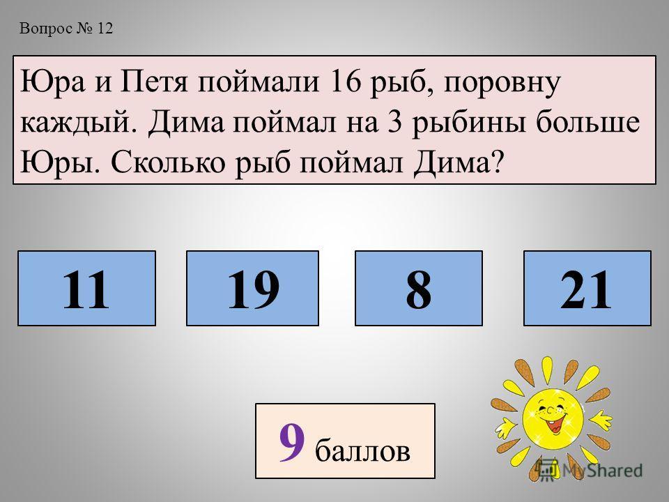 Вопрос 12 Юра и Петя поймали 16 рыб, поровну каждый. Дима поймал на 3 рыбины больше Юры. Сколько рыб поймал Дима? 1119821 9 баллов