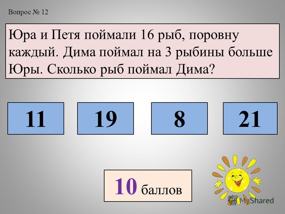 Вопрос 12 Юра и Петя поймали 16 рыб, поровну каждый. Дима поймал на 3 рыбины больше Юры. Сколько рыб поймал Дима? 1119821 10 баллов
