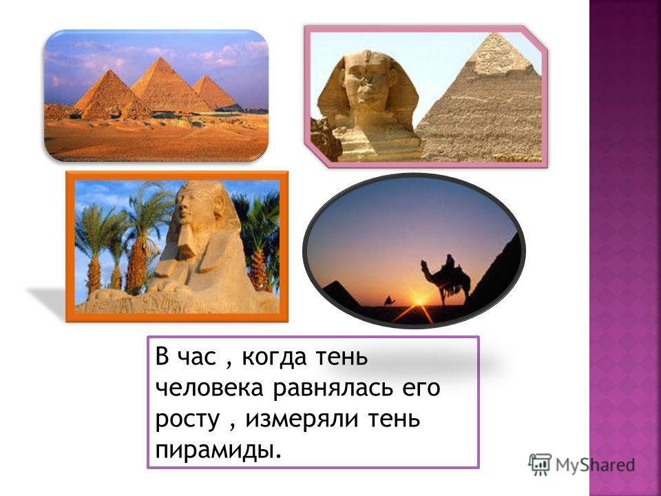 В час, когда тень человека равнялась его росту, измеряли тень пирамиды.