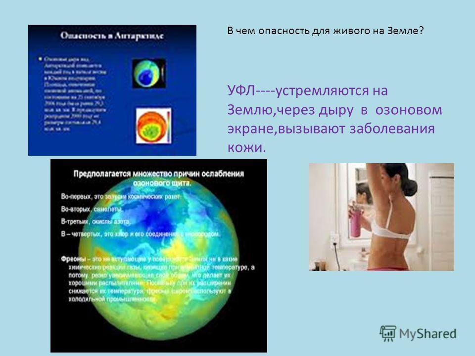 В чем опасность для живого на Земле? УФЛ----устремляются на Землю,через дыру в озоновом экране,вызывают заболевания кожи.