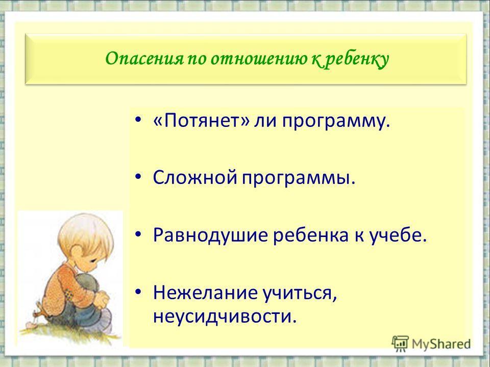 Опасения по отношению к ребенку «Потянет» ли программу. Сложной программы. Равнодушие ребенка к учебе. Нежелание учиться, неусидчивости.