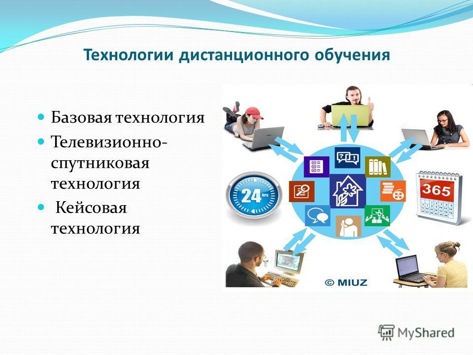 Технологии дистанционного обучения Базовая технология Телевизионно- спутниковая технология Кейсовая технология