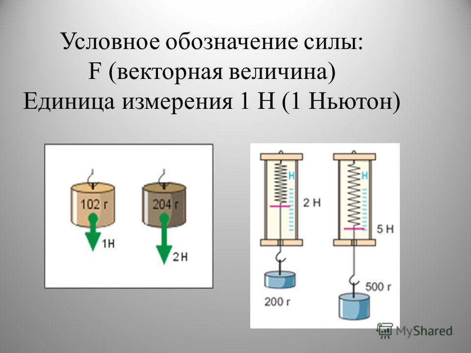 Условное обозначение силы: F (векторная величина) Единица измерения 1 Н (1 Ньютон)