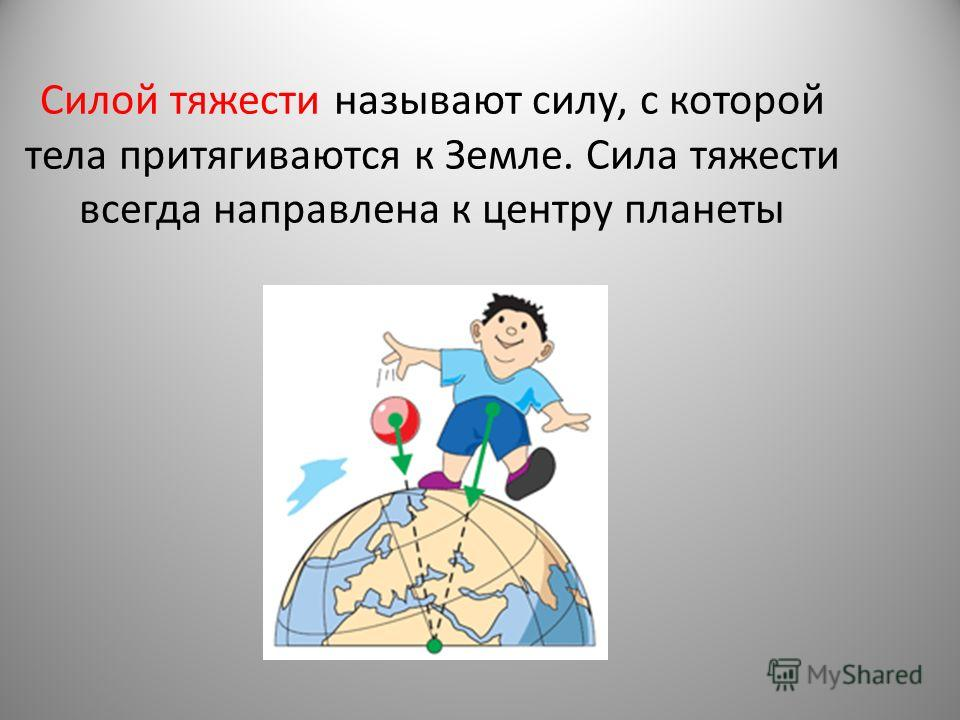 Силой тяжести называют силу, с которой тела притягиваются к Земле. Сила тяжести всегда направлена к центру планеты
