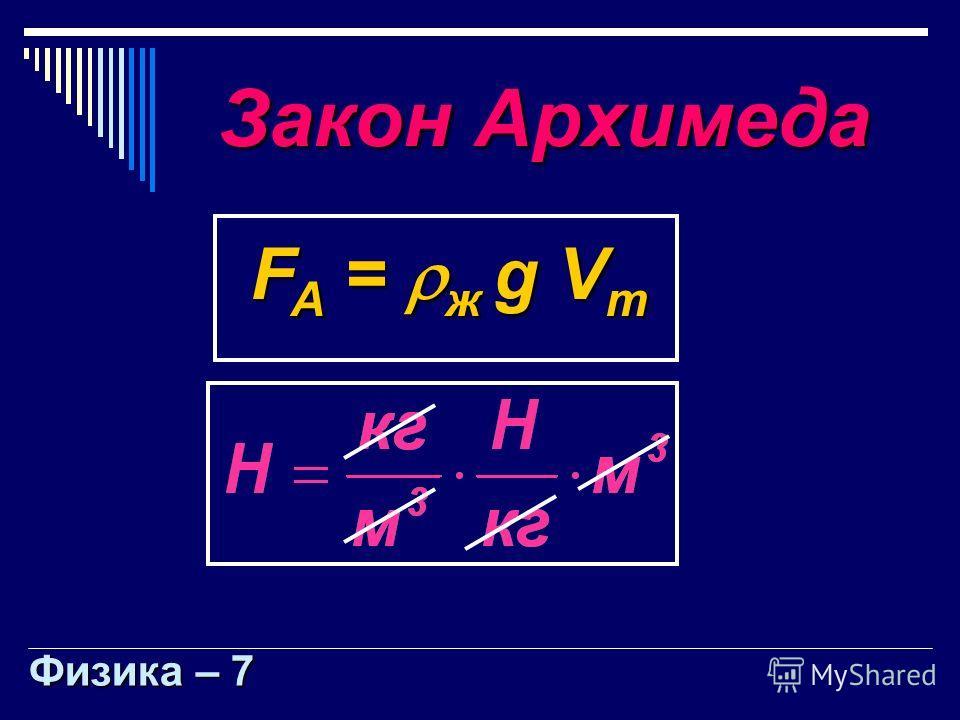 Закон Архимеда F A = ж g V т Физика – 7