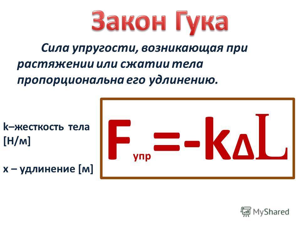 Сила упругости, возникающая при растяжении или сжатии тела пропорциональна его удлинению. k–жесткость тела [Н/м] x – удлинение [м] F упр =-k l