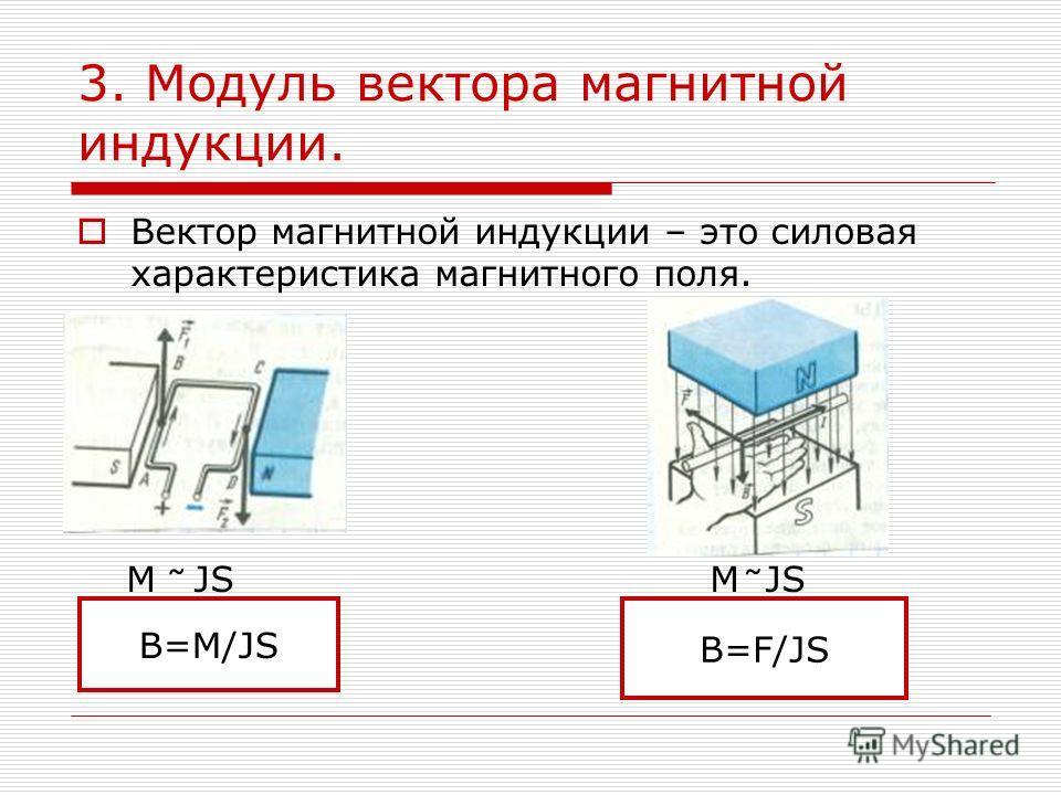 3. Модуль вектора магнитной индукции. Вектор магнитной индукции – это силовая характеристика магнитного поля. M JS M JS B=M/JS B=F/JS ˜˜