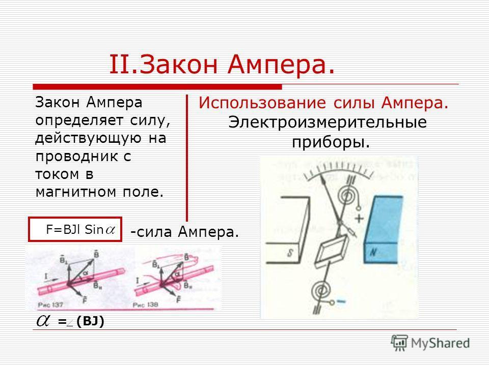 II.Закон Ампера. Закон Ампера определяет силу, действующую на проводник с током в магнитном поле. Использование силы Ампера. Электроизмерительные приборы. -сила Ампера. F=BJl Sin = (BJ)