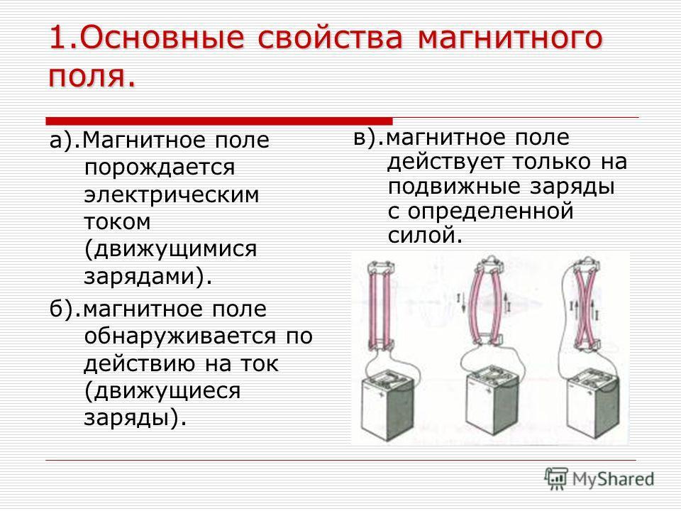 1.Основные свойства магнитного поля. а).Магнитное поле порождается электрическим током (движущимися зарядами). б).магнитное поле обнаруживается по действию на ток (движущиеся заряды). в).магнитное поле действует только на подвижные заряды с определен