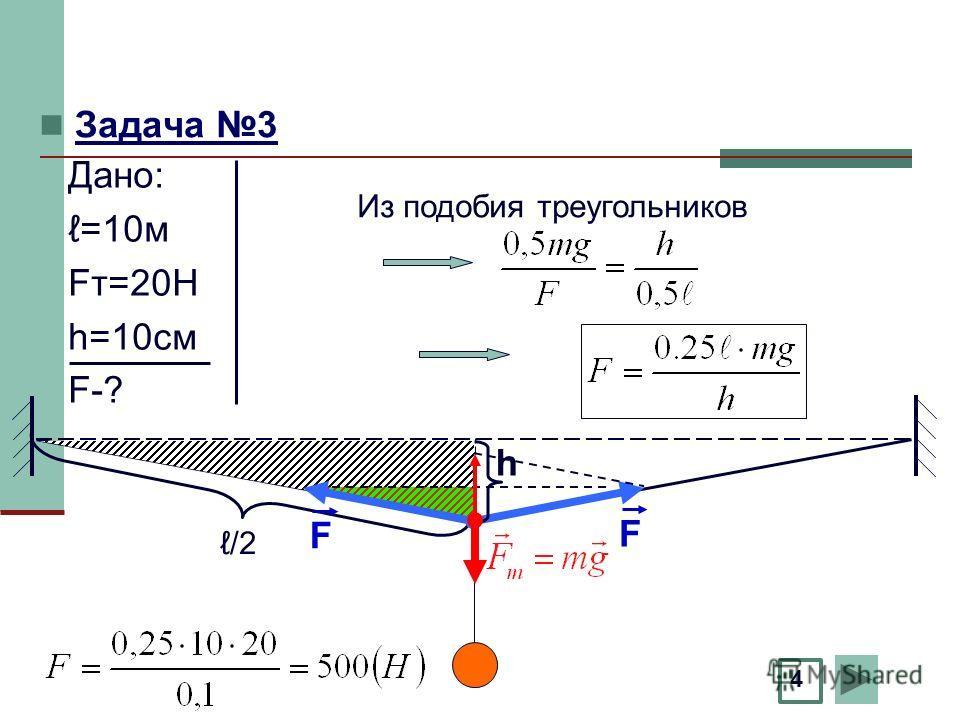 Задача 3 h F F /2 4 Из подобия треугольников Дано: =10м Fт=20Н h=10см F-?
