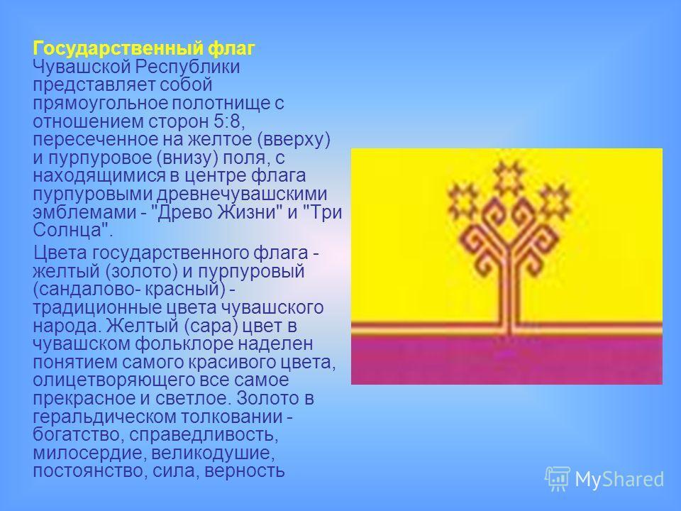 Государственный флаг Чувашской Республики представляет собой прямоугольное полотнище с отношением сторон 5:8, пересеченное на желтое (вверху) и пурпуровое (внизу) поля, с находящимися в центре флага пурпуровыми древнечувашскими эмблемами -