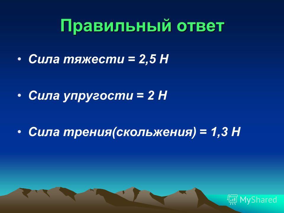 Правильный ответ Сила тяжести = 2,5 Н Сила упругости = 2 Н Сила трения(скольжения) = 1,3 Н