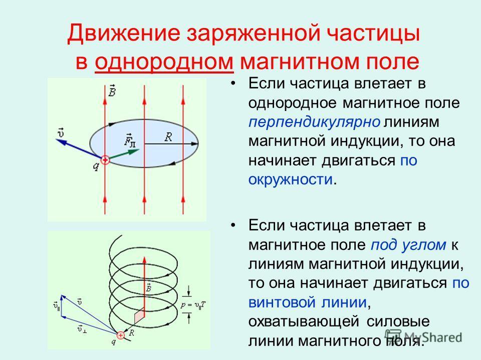 Движение заряженной частицы в однородном магнитном поле Если частица влетает в однородное магнитное поле перпендикулярно линиям магнитной индукции, то она начинает двигаться по окружности. Если частица влетает в магнитное поле под углом к линиям магн