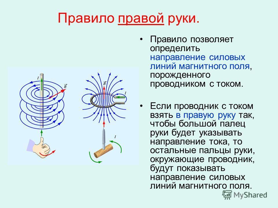 Правило правой руки. Правило позволяет определить направление силовых линий магнитного поля, порожденного проводником с током. Если проводник с током взять в правую руку так, чтобы большой палец руки будет указывать направление тока, то остальные пал