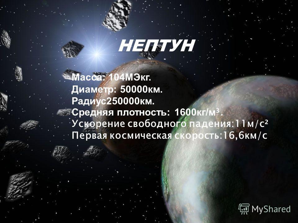 НЕПТУН Масса: 104МЭкг. Диаметр: 50000км. Радиус250000км. Средняя плотность: 1600кг/м ³. Ускорение свободного падения:11м/с² Первая космическая скорость:16,6км/с